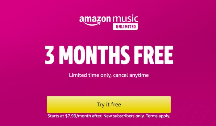 Get Free Unlimited Amazon Music for Three Months
