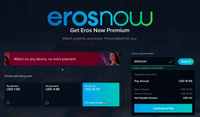 Get Eros Now Premium free for 1 year
