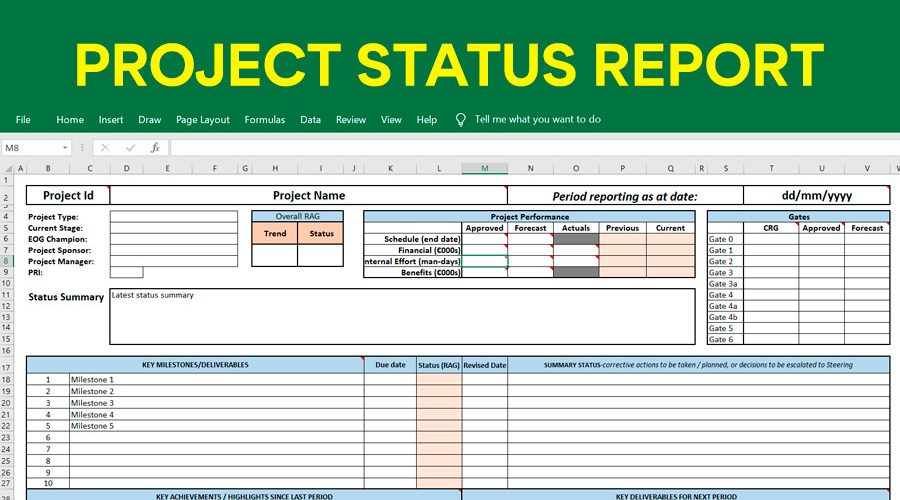 Project Status Excel Report